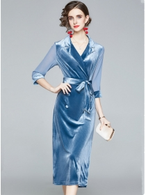 Modern OL 2 Colors Tailored Collar Double-breasted Velvet Dress