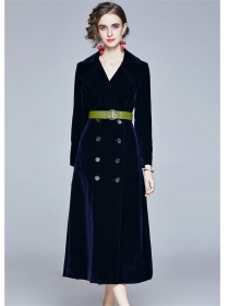 Vogue Lady Double-breasted Tailored Collar Thick Long Coat