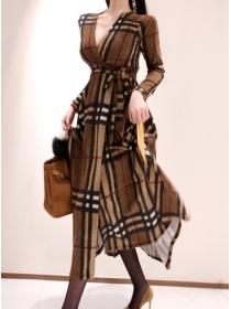 Classic Wholesale Tie Waist V-neck Plaids Long Dress