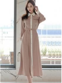 Autumn Fashion Color Block Shirt Collar Maxi Dress