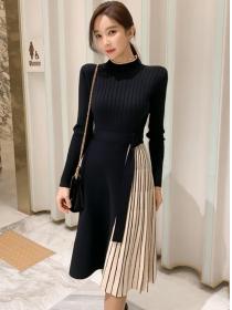 Autumn New High Waist Stripes Pleated Knitting Dress