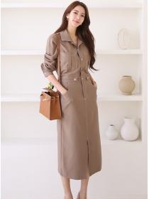 Quality Fashion 2 Colors Shirt Collar Slim Long Dress