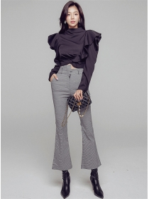 Vogue Lady Flouncing Blouse with Houndstooth Slim Long Pants
