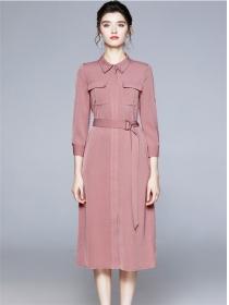 Grace Fashion Shirt Collar Belt Waist A-line Long Dress