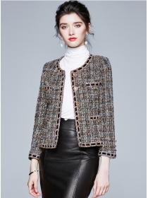 Quality Fashion Round Neck Tweed Woolen Short Coat