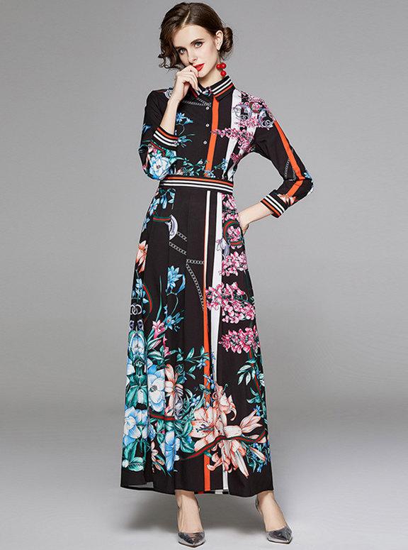 Retro Charming High Waist Flowers Long Sleeve Maxi Dress