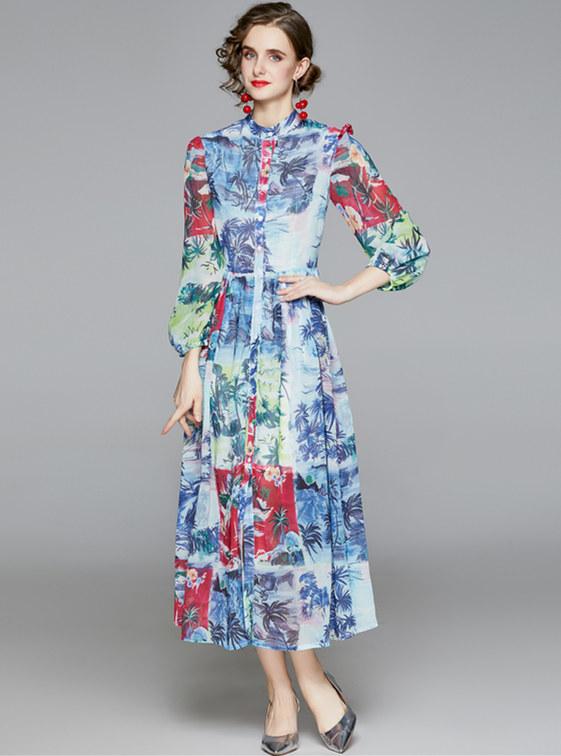 Retro Europe High Waist Flowers Puff Sleeve Long Dress