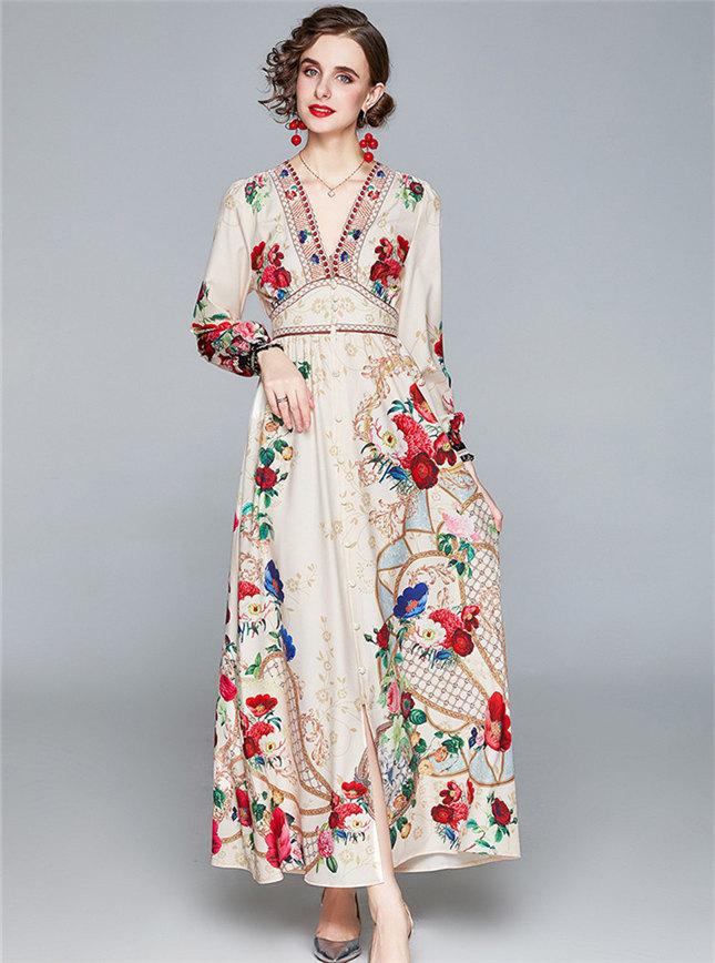 Fashion Europe Elastic Waist V-neck Flowers Maxi Dress