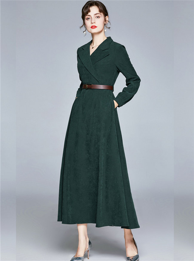 Brand New Tailored Collar High Waist A-line Long Dress