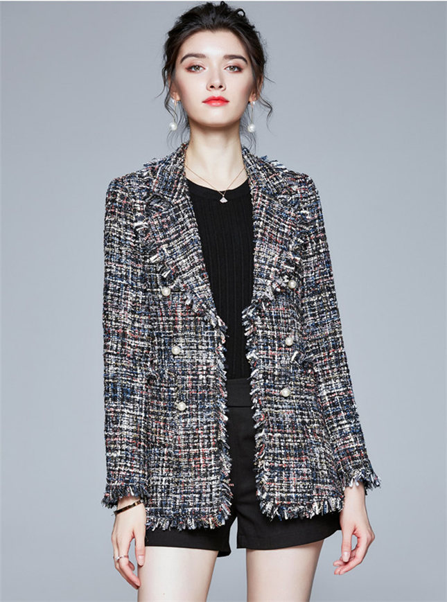 Europe Hot Selling Tailored Collar Tassels Tweed Short Coat