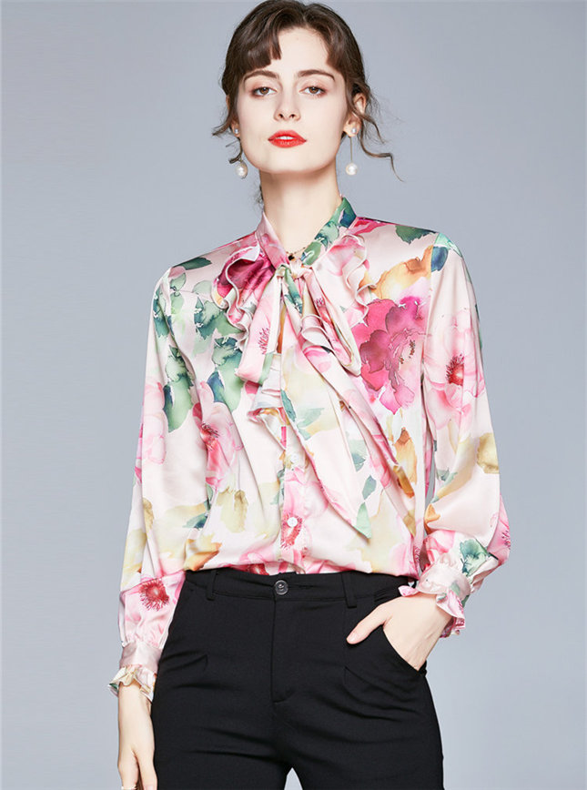 Wholesale Stylish Tie Collar Flowers Long Sleeve Blouse