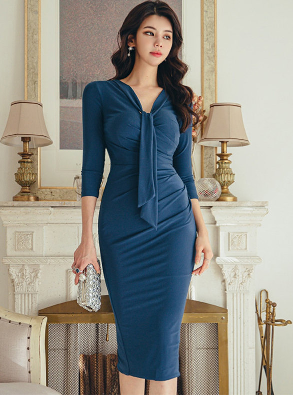 Modern OL Tie V-neck Skinny Long Sleeve Dress