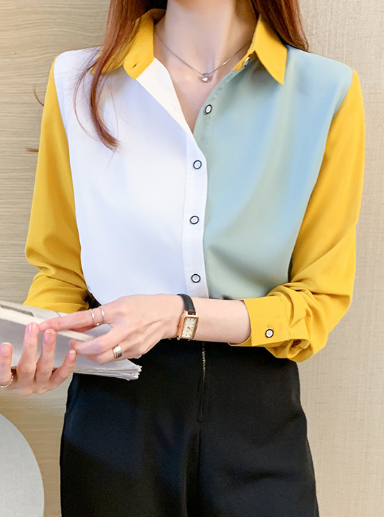 Modern Lady Color Block Shirt Collar Long Sleeve Blouse
