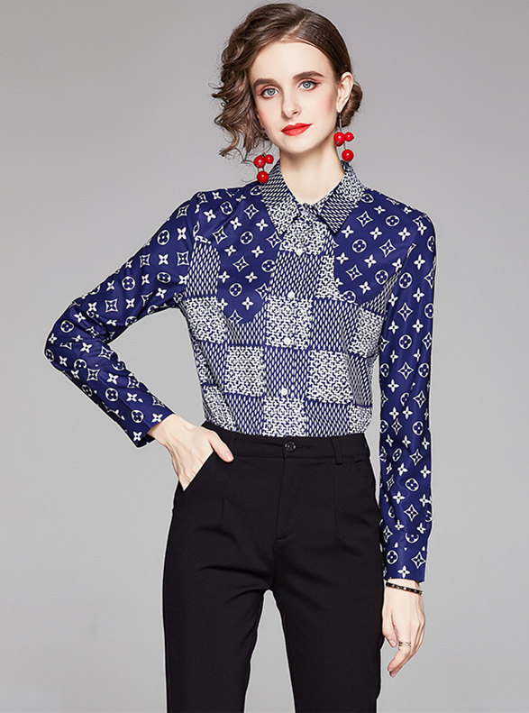 Retro Europe Plaids Flowers Long Sleeve Blouse