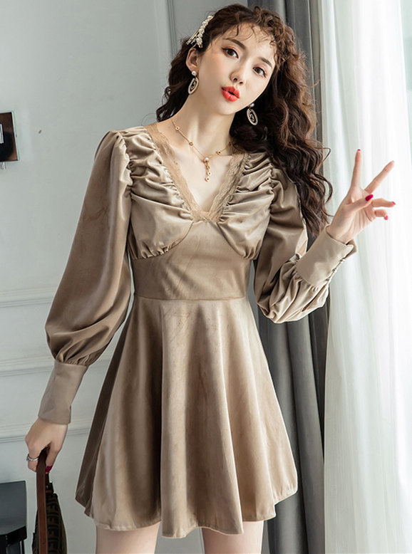 Autumn New 2 Colors V-neck Puff Sleeve Velvet Dress