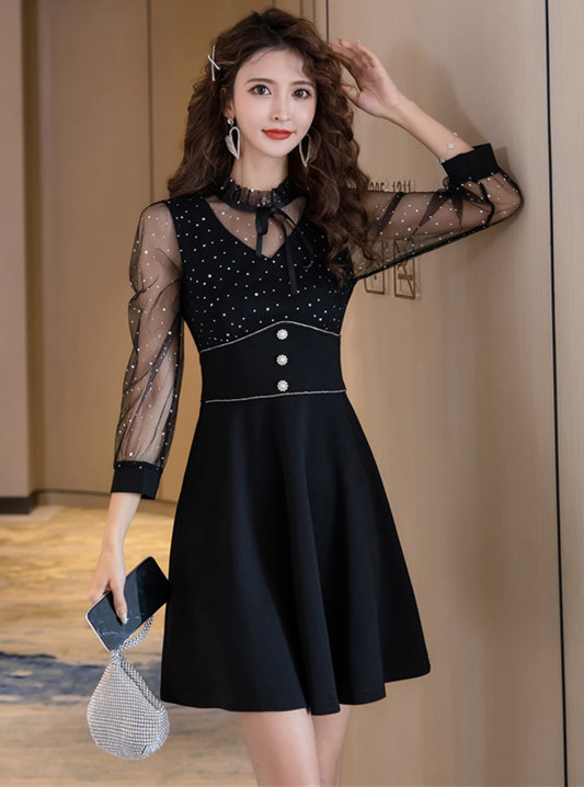 Charming Retro Sequins Gauze Sleeve Fitted Waist Dress