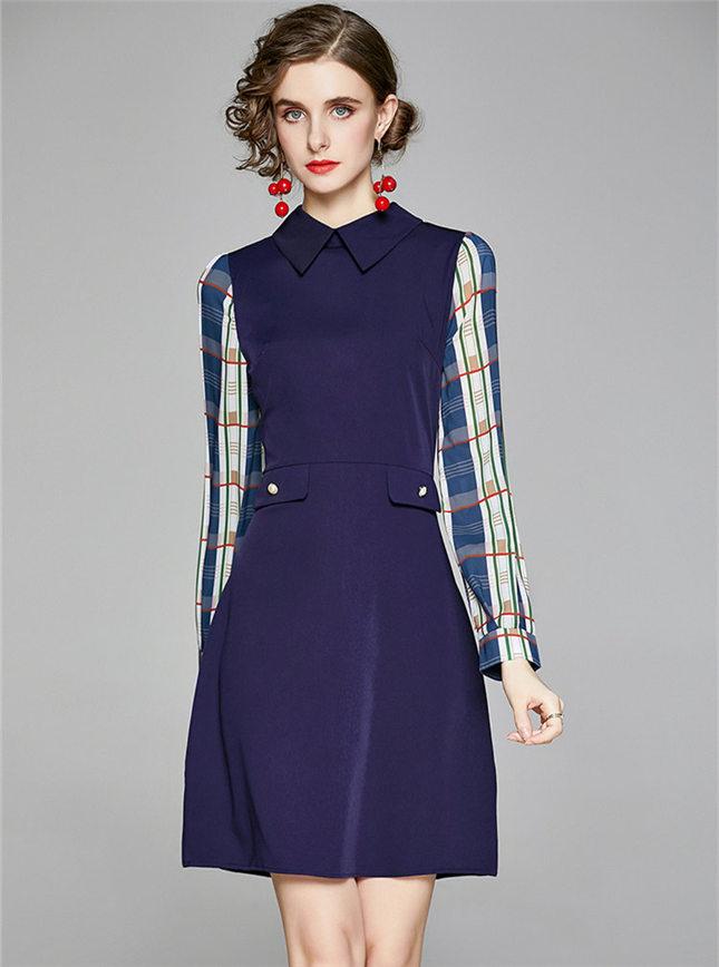 Retro Europe Doll Collar Plaids Sleeve Slim A-line Dress
