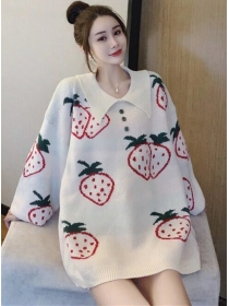 Lovely 2 Colors Strawberry Doll Collar Loosen Sweater