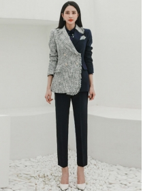 Quality New Color Block Tailored Collar Woolen Long Suits