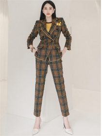 Classic Fashion Double-breasted Plaids Long Suits