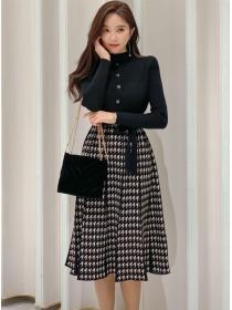 Autumn New Tie Waist Splicing Houndstooth Knit Dress