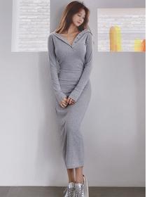 Wholesale Korea Hooded Slim Cotton Long Dress