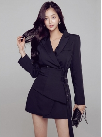 Modern Lady 2 Colors Tie Waist Double-breasted Coat Dress