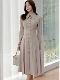 Grace Fashion Doll Collar Single-breasted Long Dress
