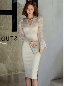 Charming Korea 2 Colors Lace Splicing Slim Dress