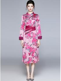 Charming Europe Leather Belt Flowers Shirt Long Dress