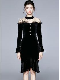 Modern OL Gauze Dots Shoulder Fishtail Velvet Dress