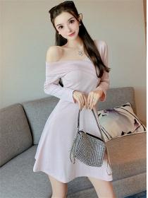 Pretty Fashion 2 Colors Off Shoulder A-line Dress