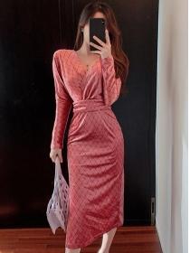 Retro Wholesale V-neck Plaids Bodycon Velvet Dress