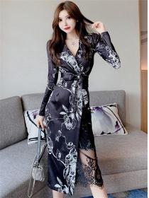Retro Fashion 2 Colors Tie Waist Flowers Long Dress