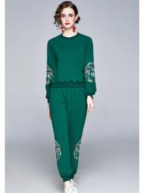 Autumn Retro 3 Colors Flowers Embroidery Cotton Long Suits