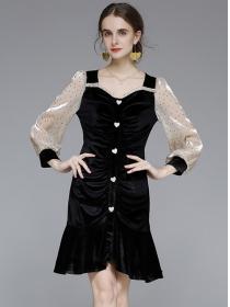 Fashion Europe Pleated Fishtails Dots Puff Sleeve Dress