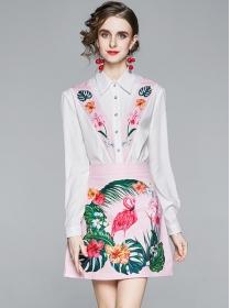 Preppy Fashion Shirt Collar Flowers Two Pieces Dress