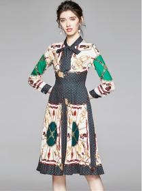 Europe Fashion Tie Collar High Waist Flowers Pleated Dress