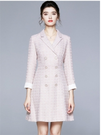 Grace Fashion Double-breasted Tailored Collar Tweed Dress
