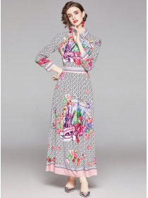 Modern Lady High Waist Flowers Shirt Collar Maxi Dress