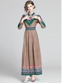 Wholesale Europe Flowers Shirt Collar High Waist Maxi Dress