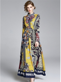 Europe Fashion Vintage Tie Waist Flowers Maxi Dress