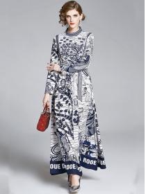 Retro Fashion Stand Collar Tie Waist Flowers Maxi Dress