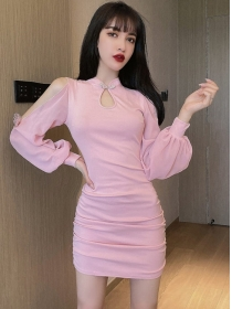 Pretty Retro 2 Colors Off Shoulder Puff Sleeve Slim Dress