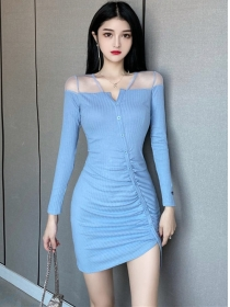 Sexy Wholesale 3 Colors Single-breasted Pleated Dress