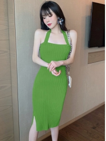 Wholesale 5 Colors Backless Slim Straps Knitting Dress