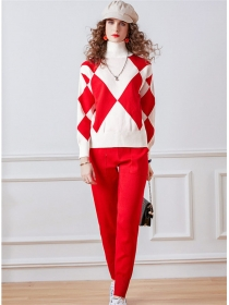Modern Europe 3 Colors Stand Collar Knitting Long Suits