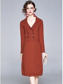 Wholesale Retro 2 Colors Double-breasted V-neck Slim Dress