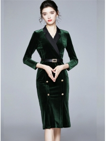 Vogue Lady Double-breasted Tailored Collar Bodycon Dress