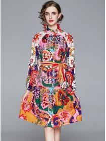 Wholesale Europe Single-breasted Tie Waist Flowers Dress